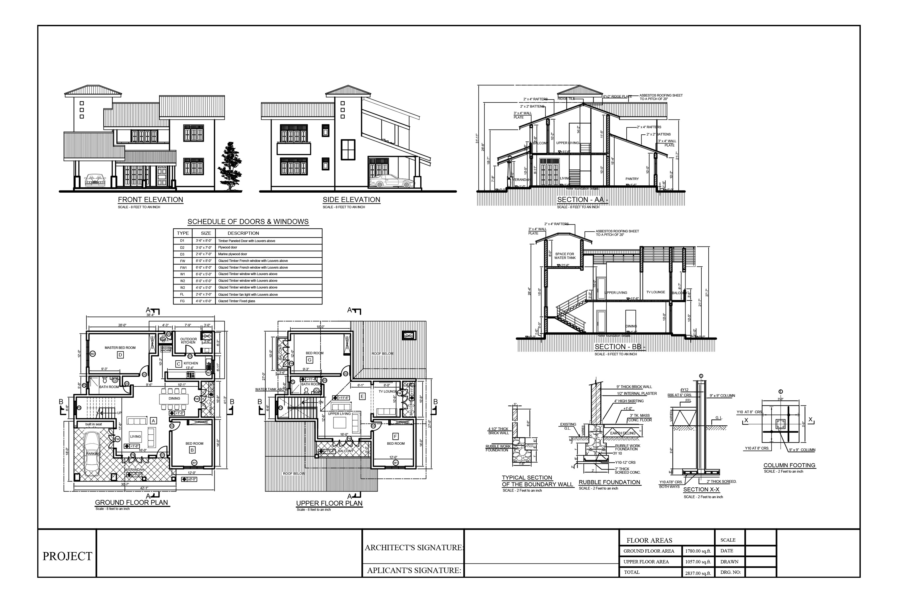 Bhk Plan Elevation Section : House plans sections elevations pdf