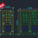 Aluminium Doors and frame cad drwaing