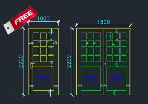 Aluminium Doors And Windows Dwg Cad Drawing Free Download