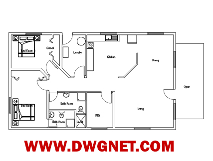 Single story small house plan 04 DWG NET Cad Blocks and House
