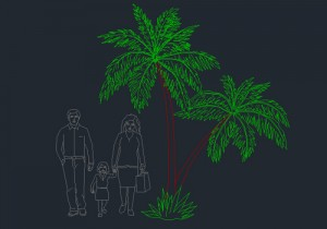 Coconut tree with peoples cad block