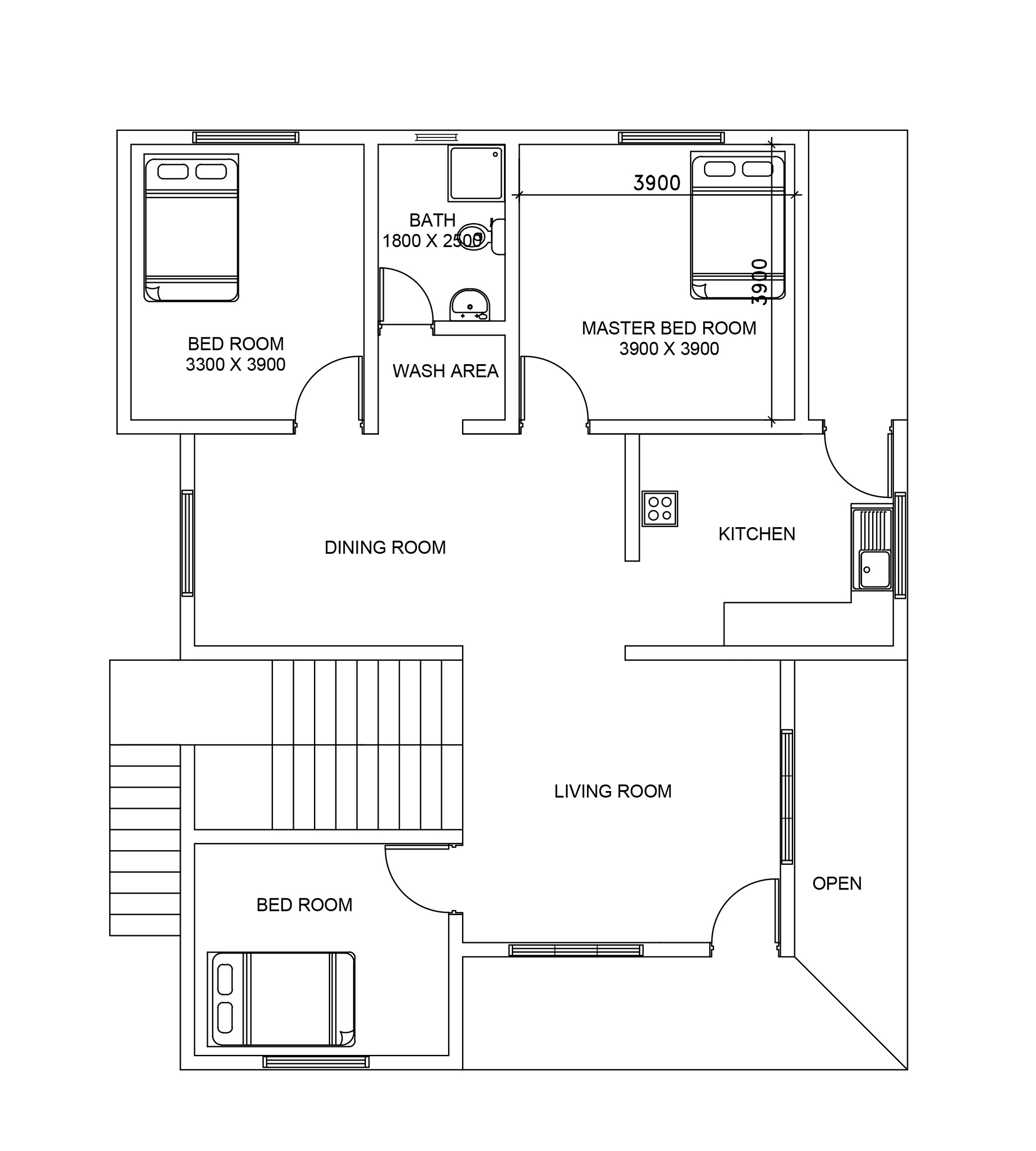 Double story house plan 106 from dwgnet