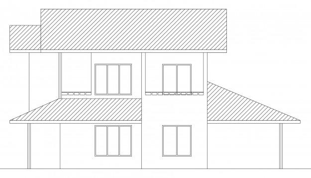 side elevation of single story house plan