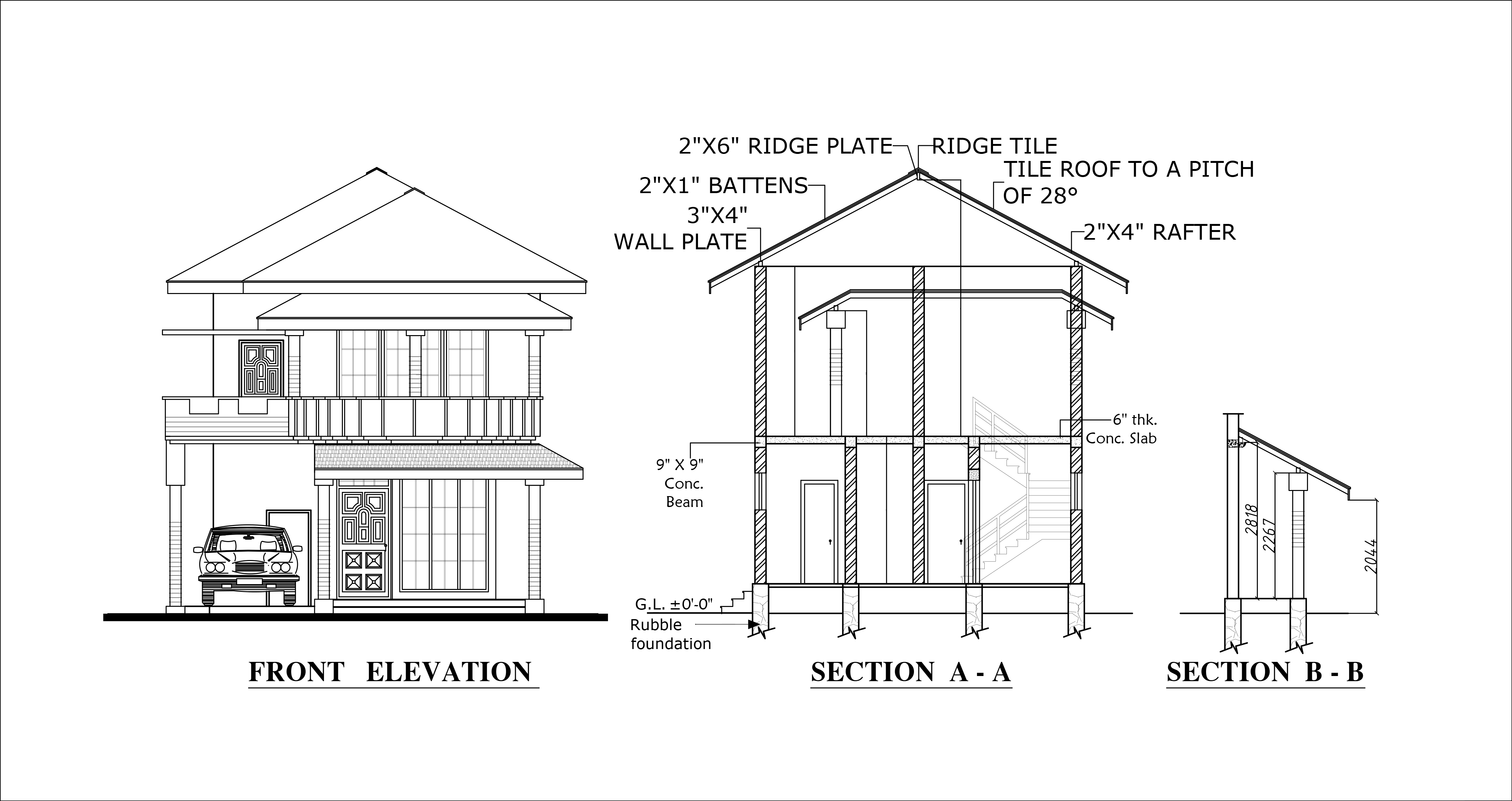 Front elevation of home plans for Narrow floor plans with front elevation