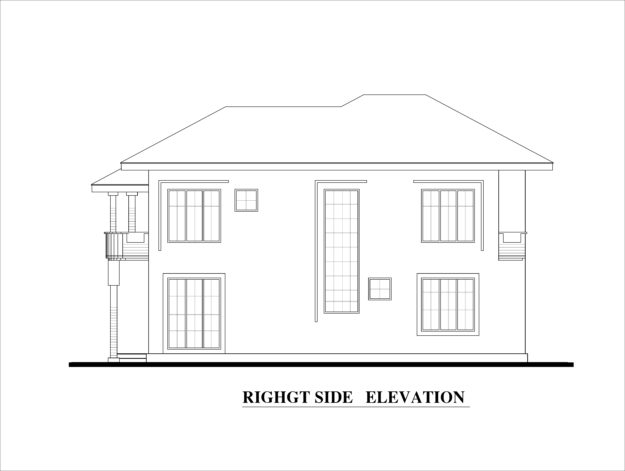 Front Elevation Side Elevation : Four bed room double story house plan