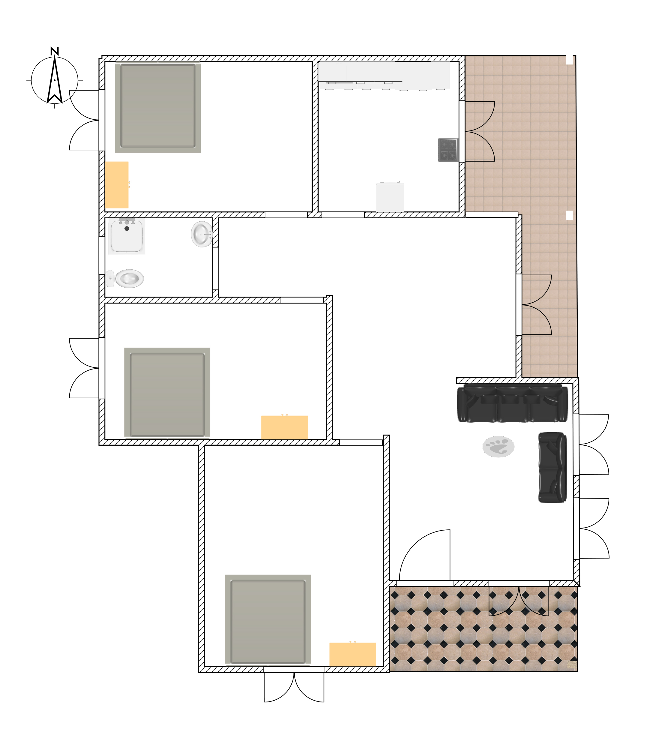 Three bed room single story 3d house plan downloaf with for House plan cad file