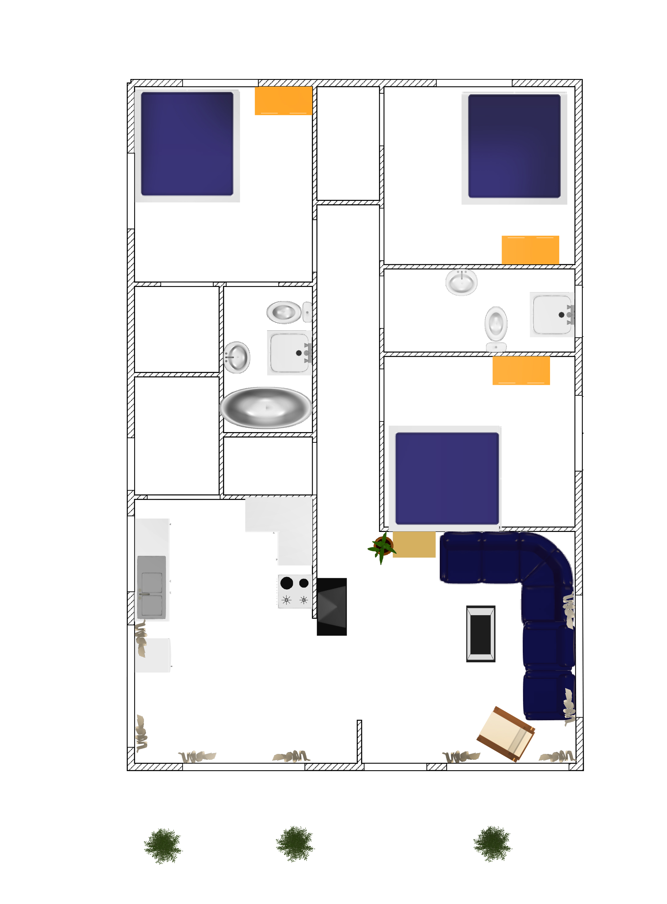 3d small house plane idea 102 free download form dwg for House layout plan