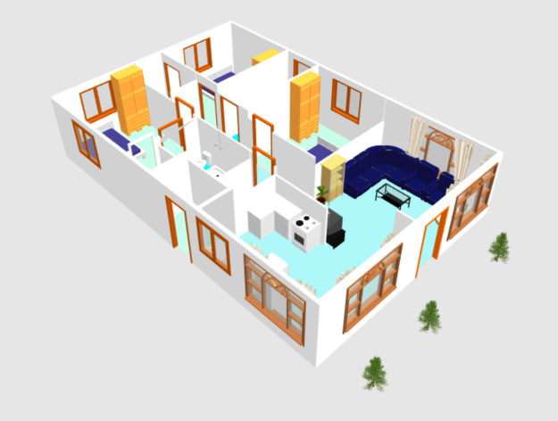3D small house plan idea free download form dwg net  (2)