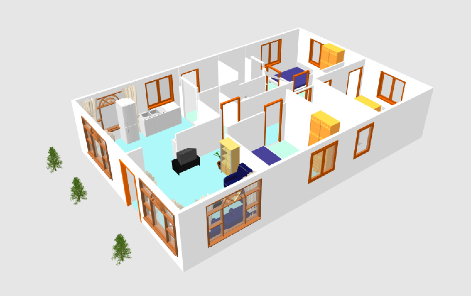 3d small house plane idea 102 free download form dwg for House images free download