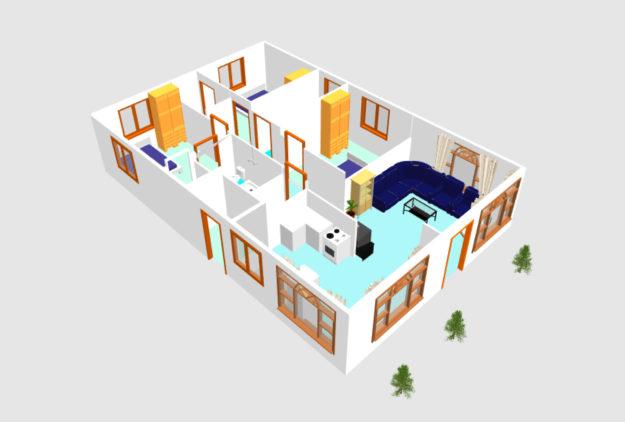 3D small house plan idea free download form dwg net  (5)