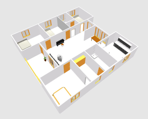 European type four bed room house plans (3)
