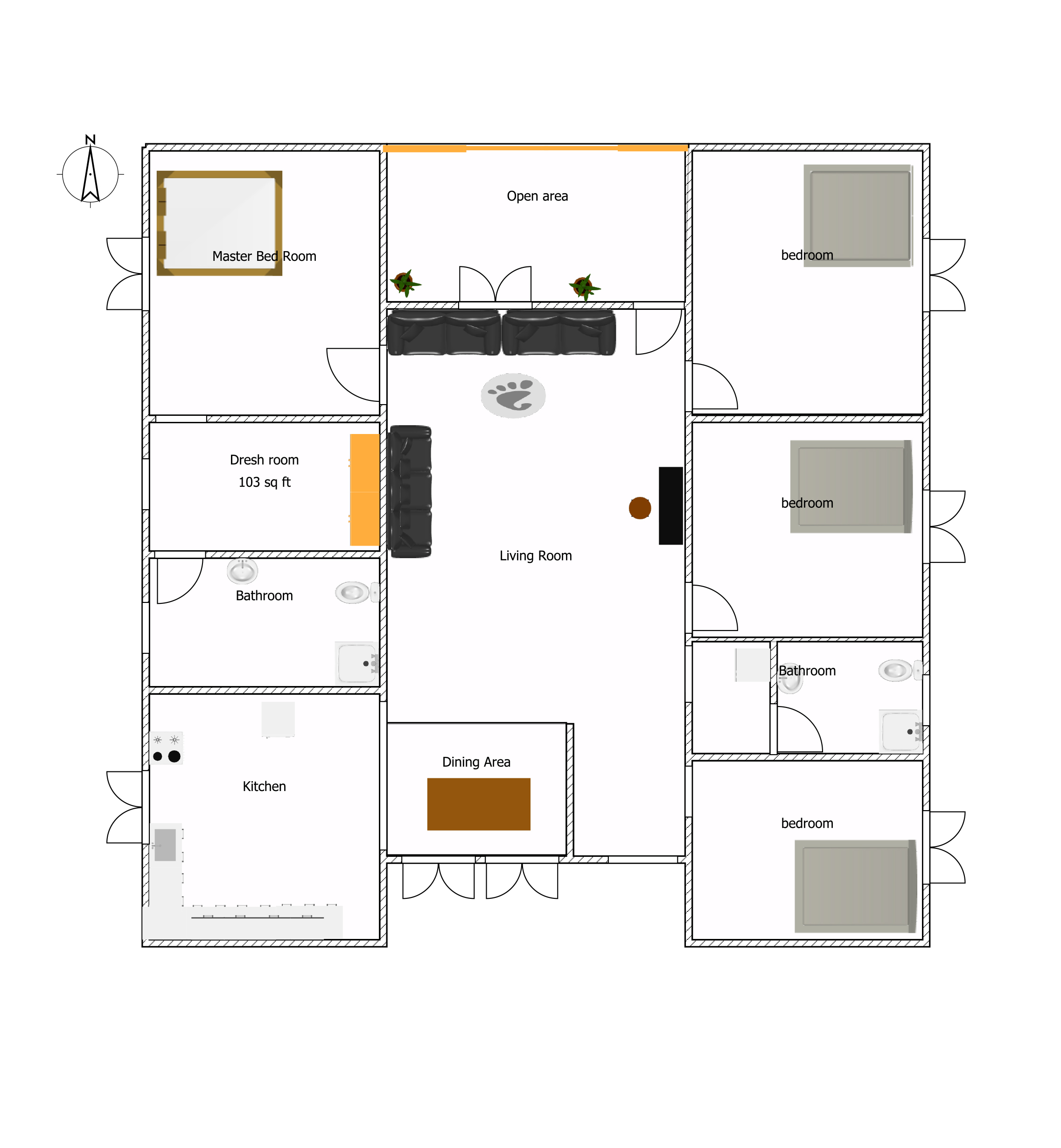 Superb 5 bedroom one story floor plans 3 european type for Four bed house plans