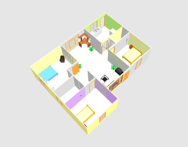 three bed room 3D house plan with dwg cad plan from dwg net .com