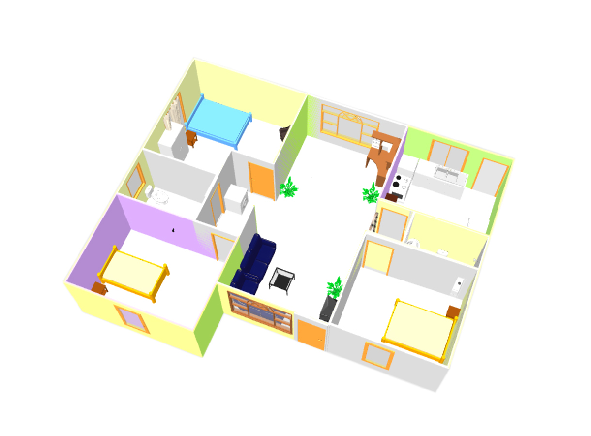 Three Bed Room 3d House Plan With Dwg Cad File Free Download