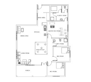Single Story Three Bed Room House Plan Www Dwgnet Com