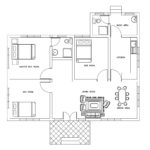 Three bed room small house plan