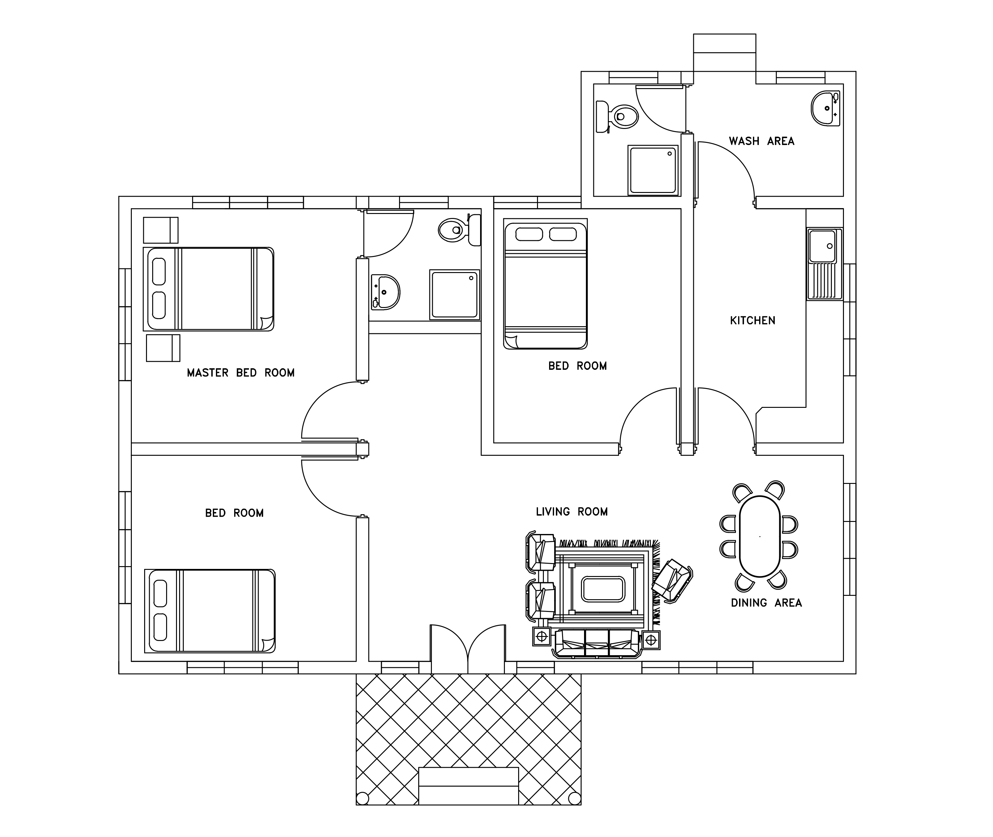 Three bed room small house plan dwg net cad blocks and for Small 3 room house plans