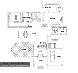 European style two bedroom house plan dwg net cad for Small european style house plans