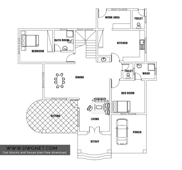 European Style Two Bedroom House Plan DWG NET Cad Blocks And House Plans