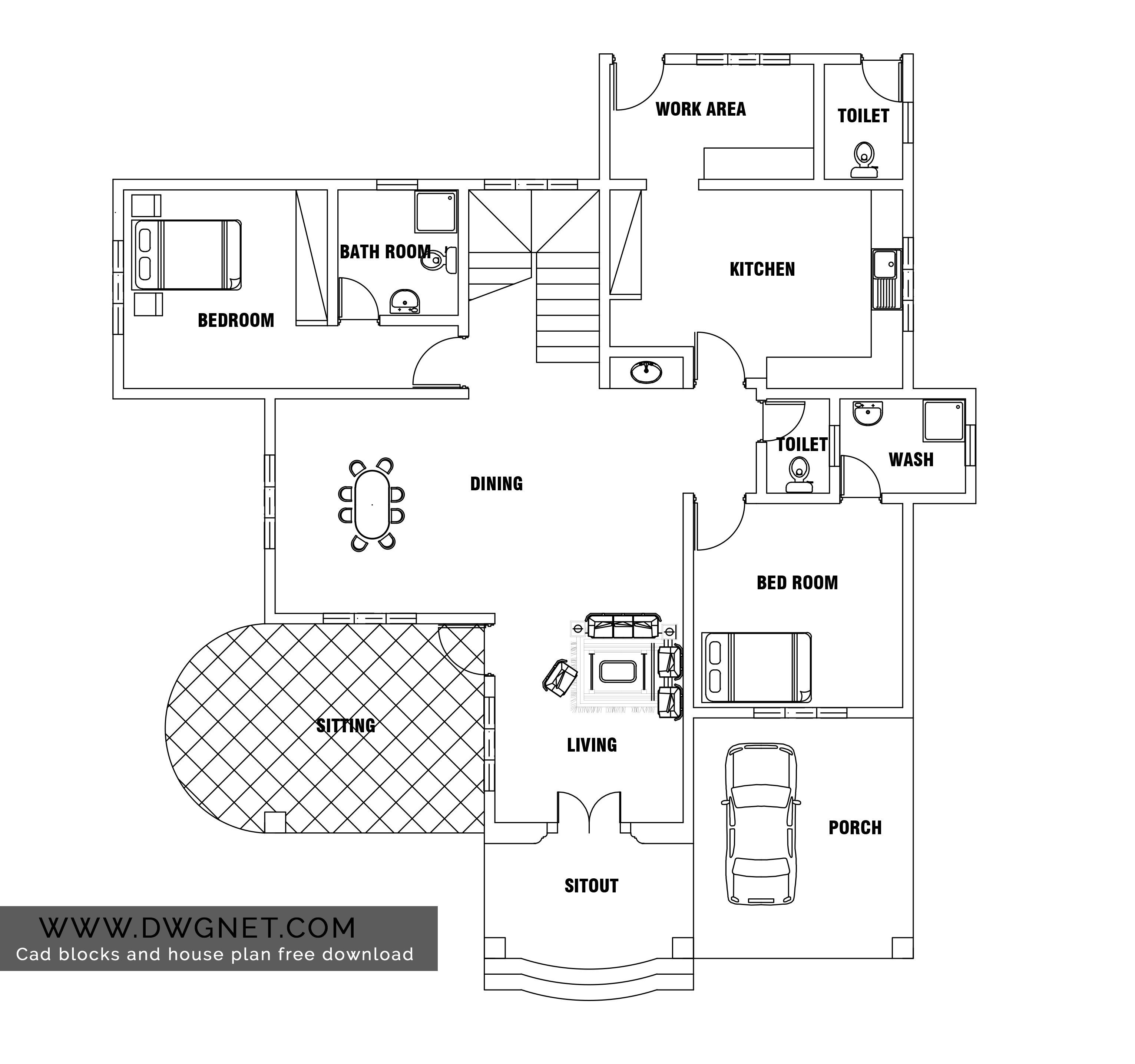 Free building plans in autocad format house plan autocad for House plan cad file