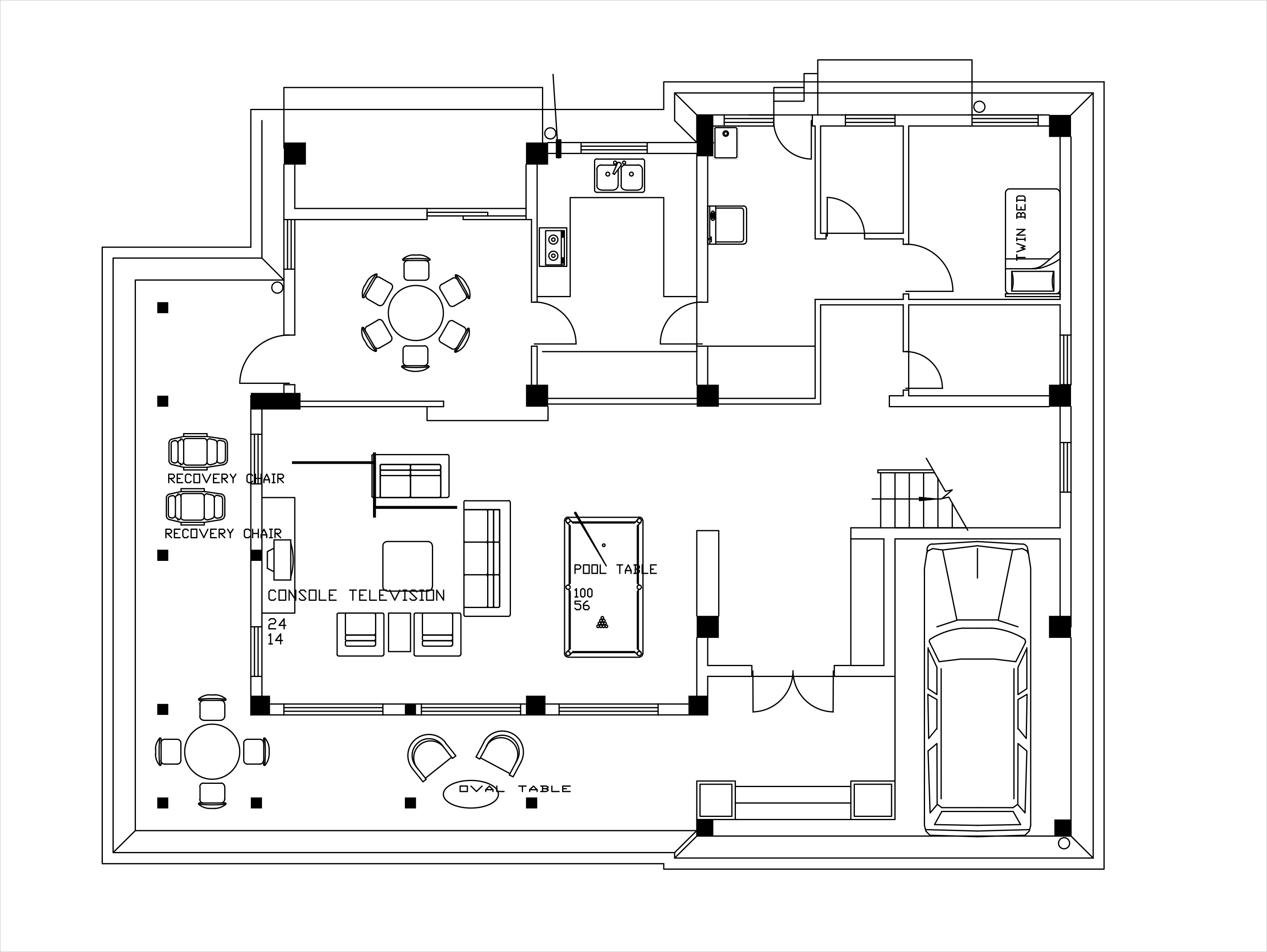 Double story low cost house plans dwg net cad blocks for Autocad house drawings