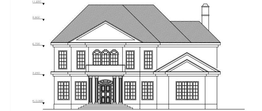 Plan To Elevation Converter : Double story four bedroom house plan dwg cad file download