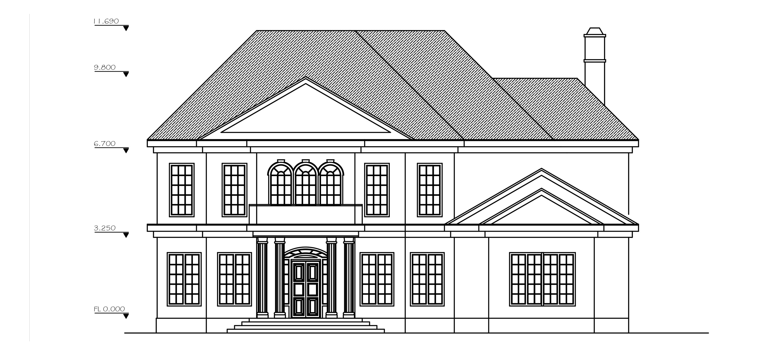 Front Elevation Autocad : Double story archives dwg net cad blocks and house plans