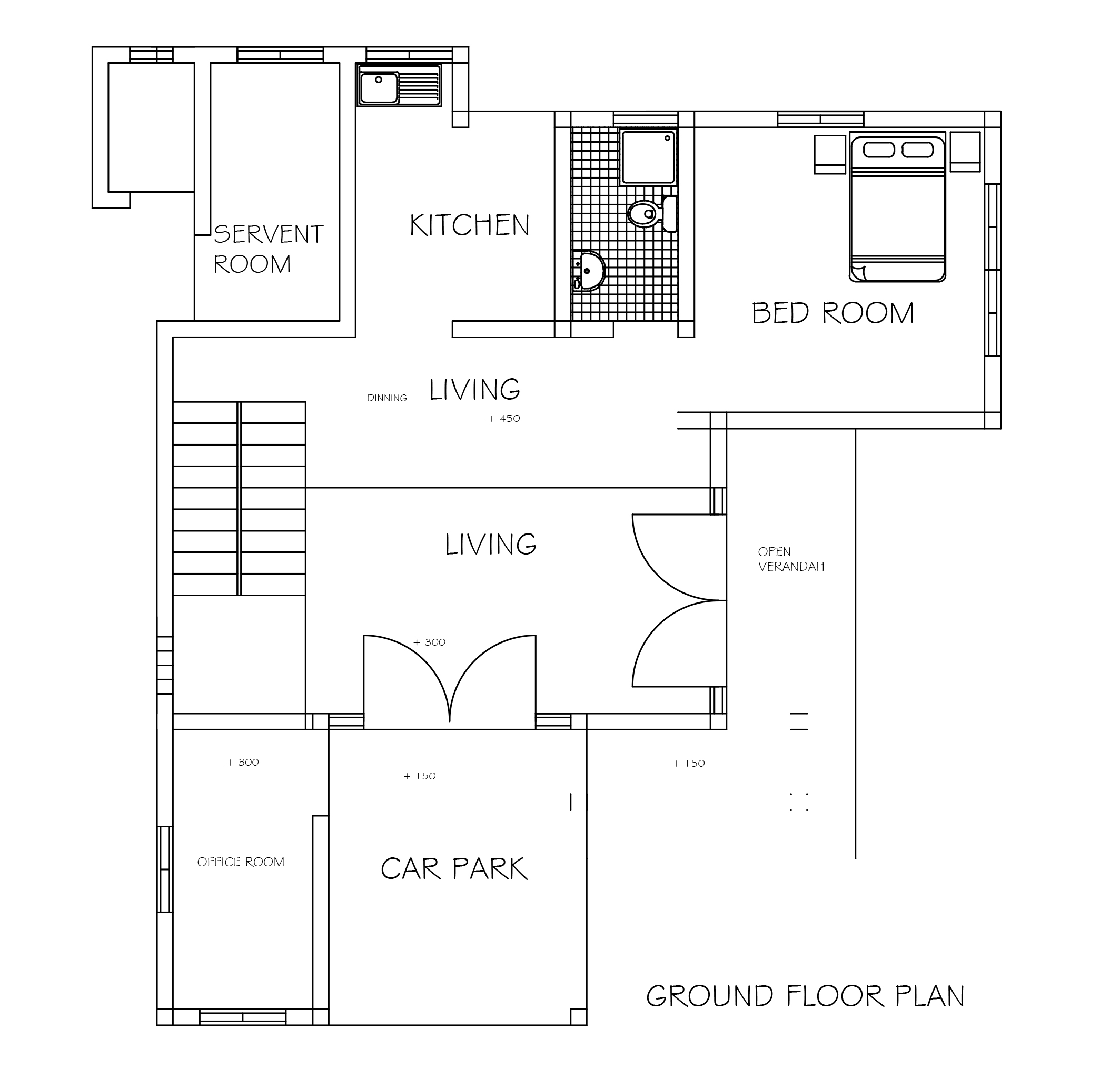 Three bedroom double story beautiful house plan dwg net Ground floor 3 bedroom plans