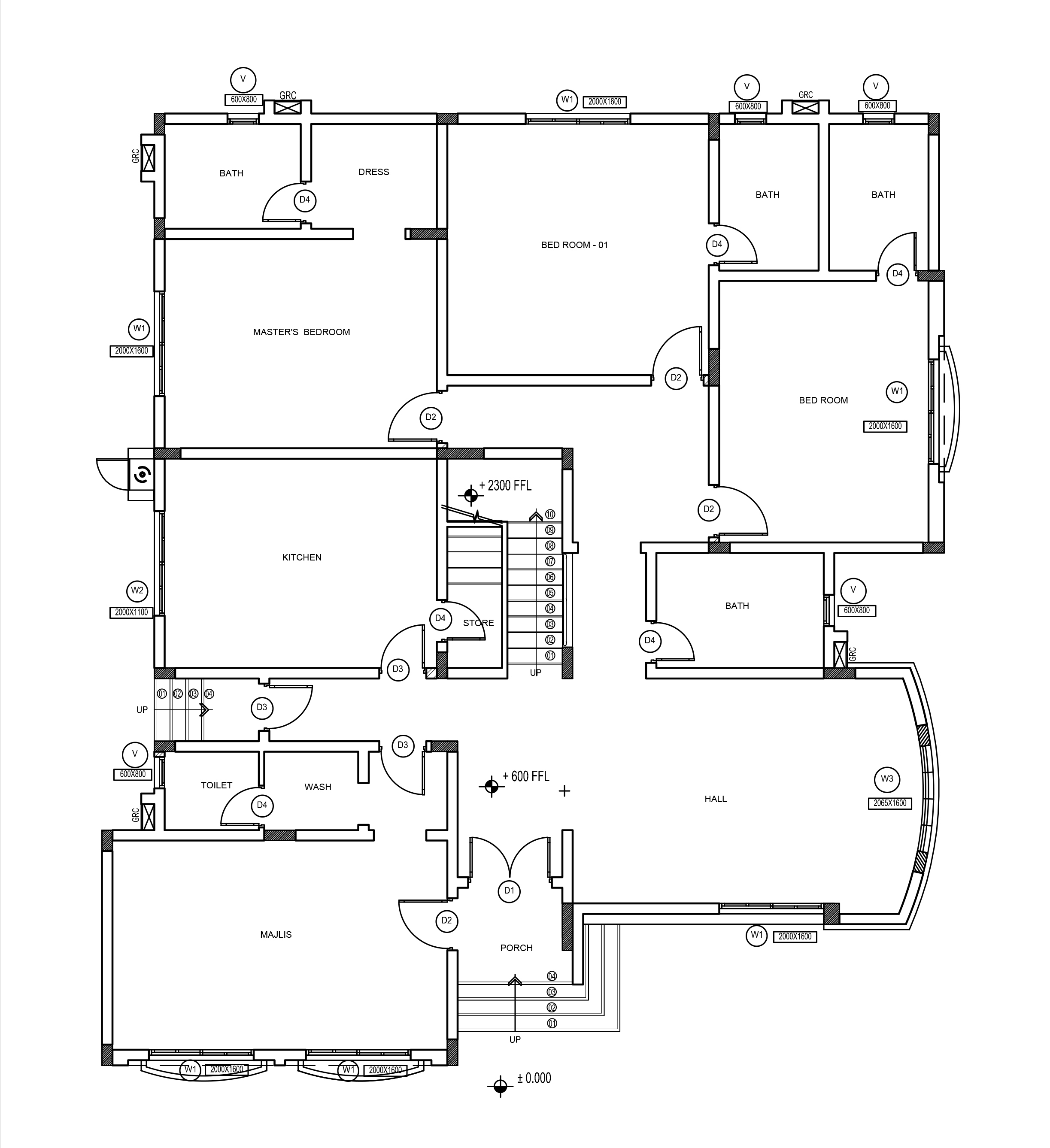 Four bedroom double story house plan for middle east country for House plan cad file