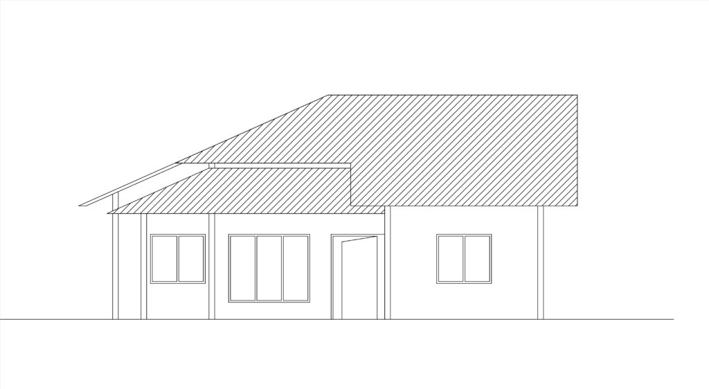 Front Elevation Beds : Single story two bed room house plan front elevation free