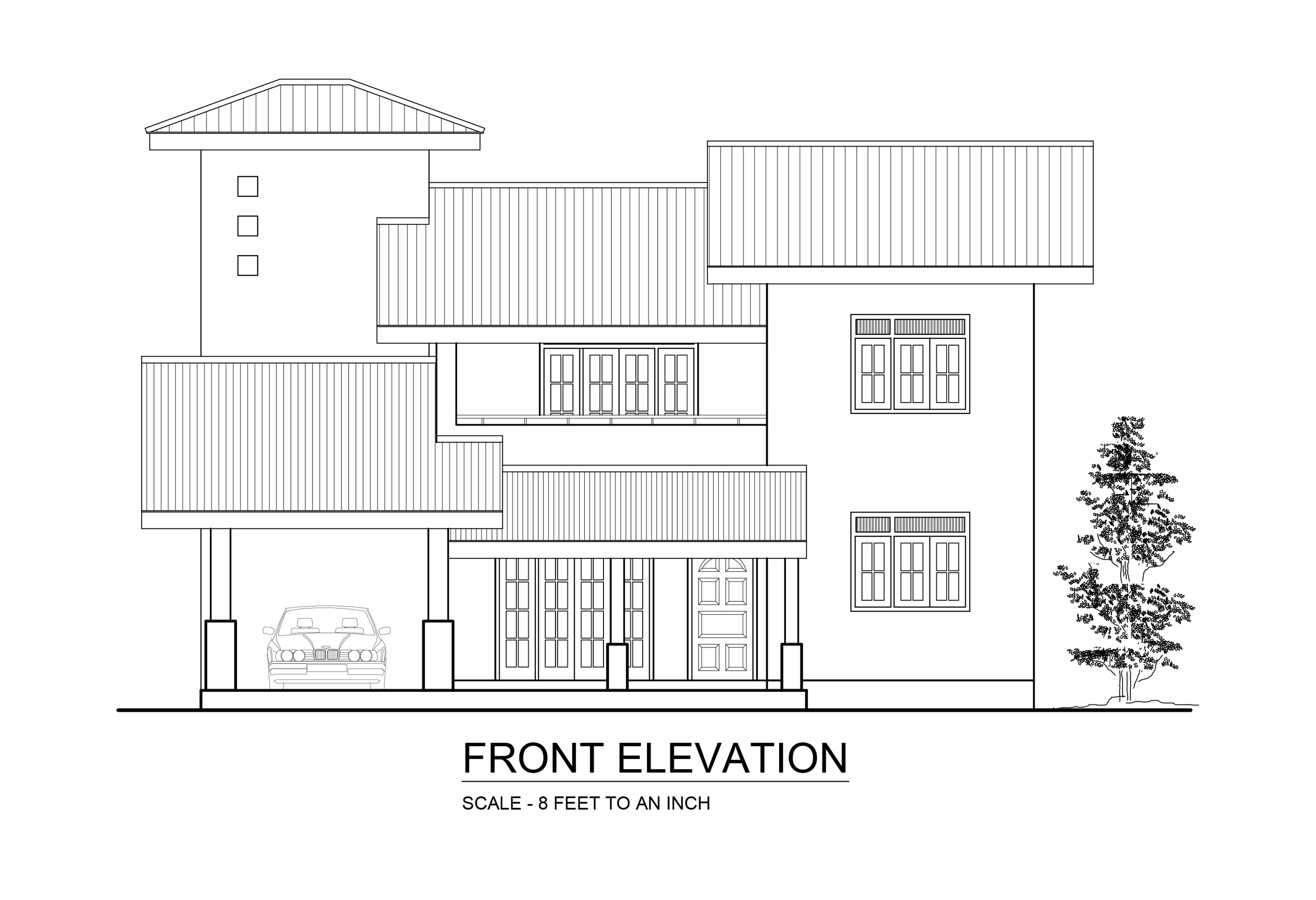 Front Elevation Design Drawing : Premium quality four bedroom double story house plan