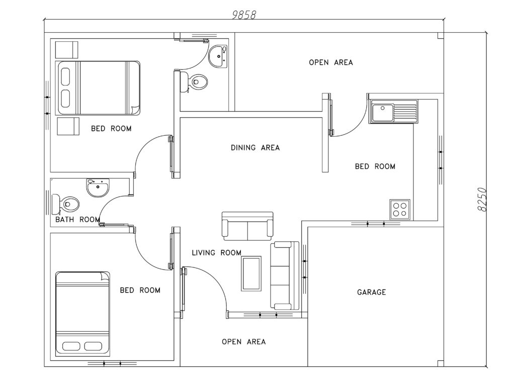 Two bed room modern house plan dwg net cad blocks and for Free cad house plans