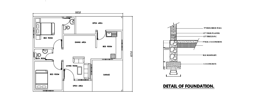 Two bed room modern house plan DWG NET