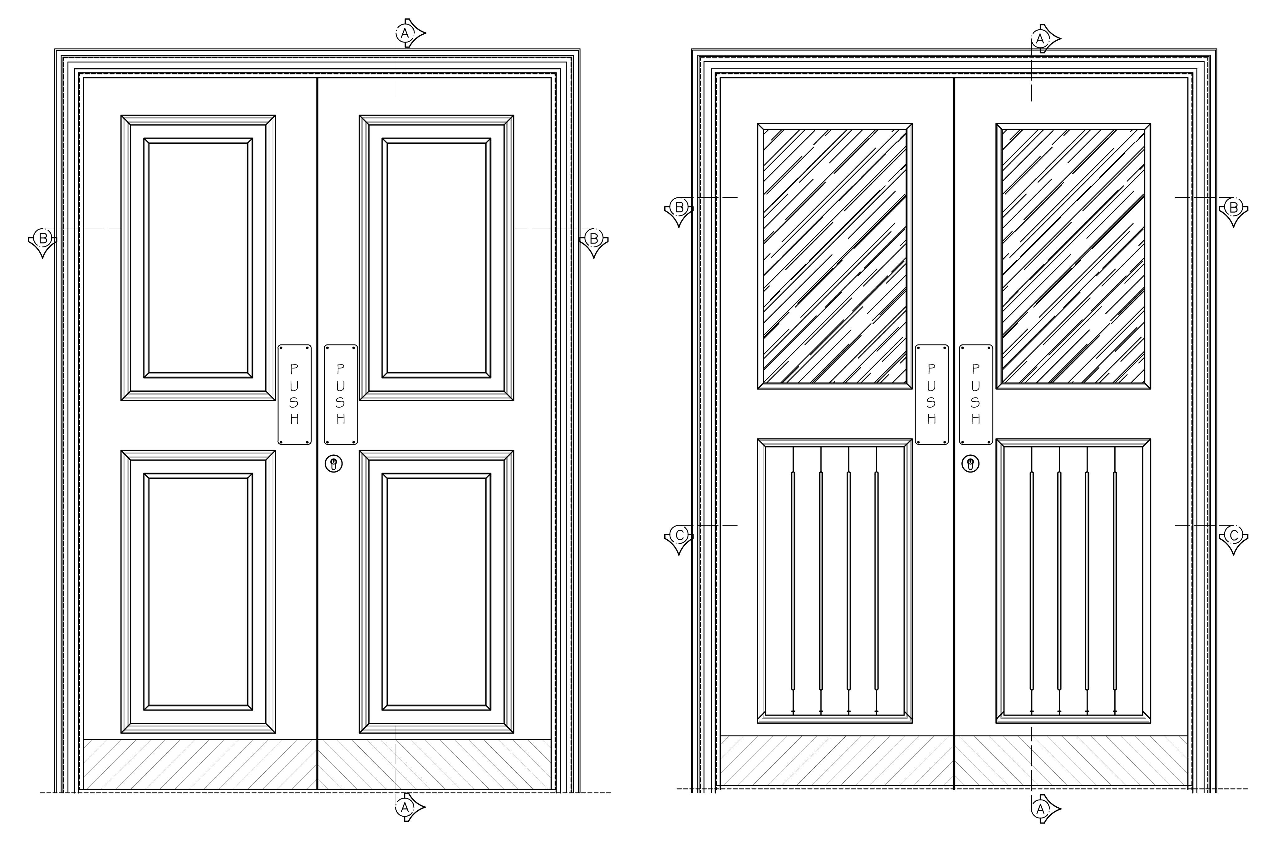 Wood Door Elevation : Cad doors drawing a door in autocad quot sc st mycadsite